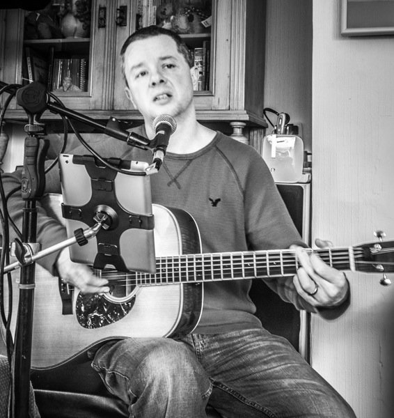 Cams practising at home for a gig