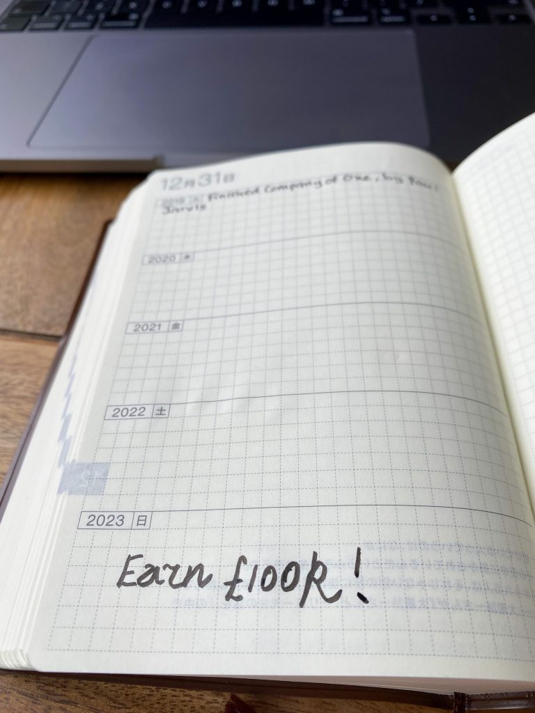 Diary entry for 31 December 2023 with an entry saying Earn £100k!