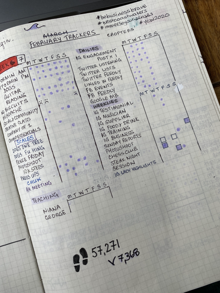 Week 7 weekly habit tracker in A4 TWSBI notebook